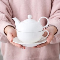 MALACASA Series Sweet.time 4 Piece Tea for one Set Cream White Porcelain with Teapot (with The Lid) Cup and Saucer