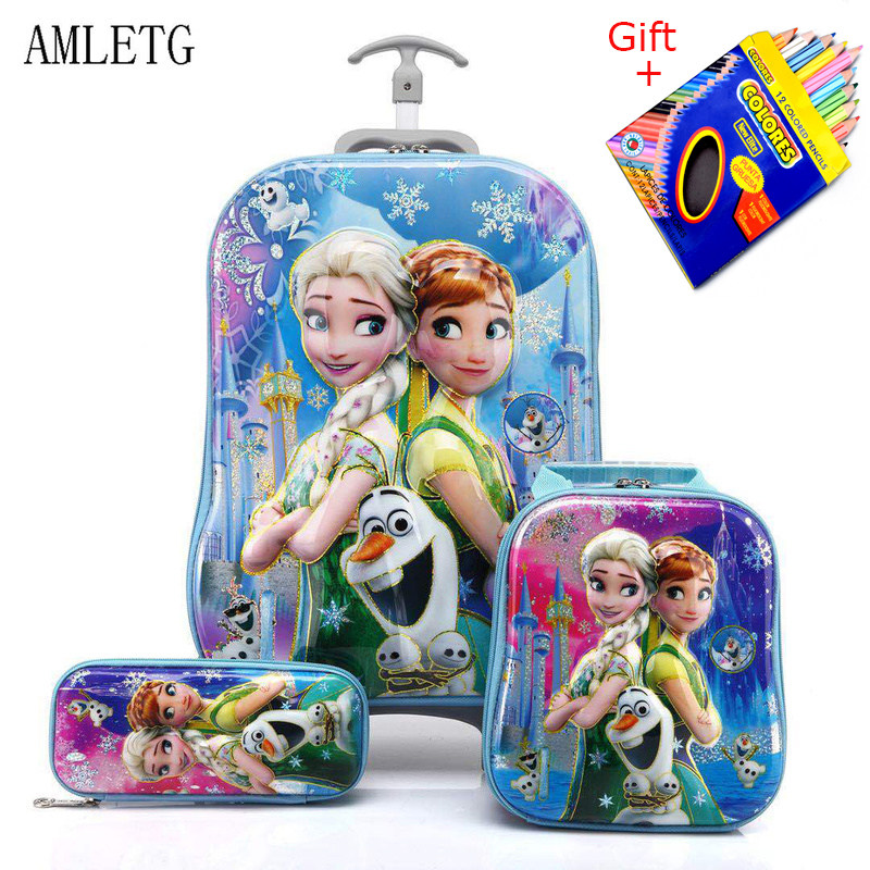 Kids Suitcase for Travel Luggage Suitcase for Girls Children Rolling Travel Luggage Bags School Backpack with