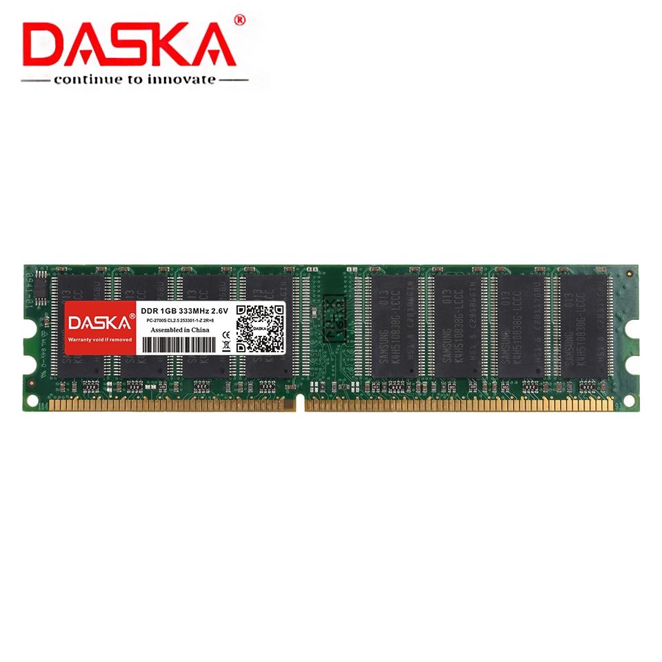 DASKA  1GB DDR PC 2700 3200 U DDR 1 333MHZ 400MHZ 333 400 MHZ Desktop PC Memory Memoria Module Computer Desktop DDR1 RAM