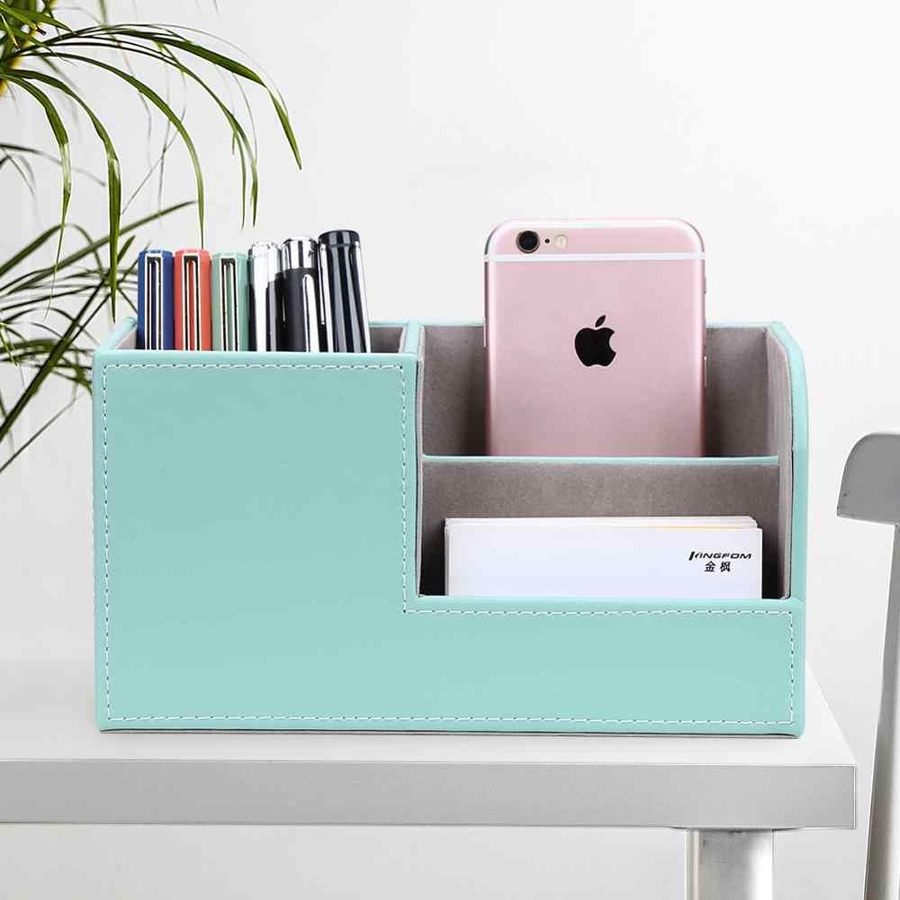 Marmer Baru Kecil Dudukan Pena Kotak Pensil PU Kulit Meja Organizer Ponsel Berdiri Tempat Kartu Nama Kantor Penyimpanan Kotak