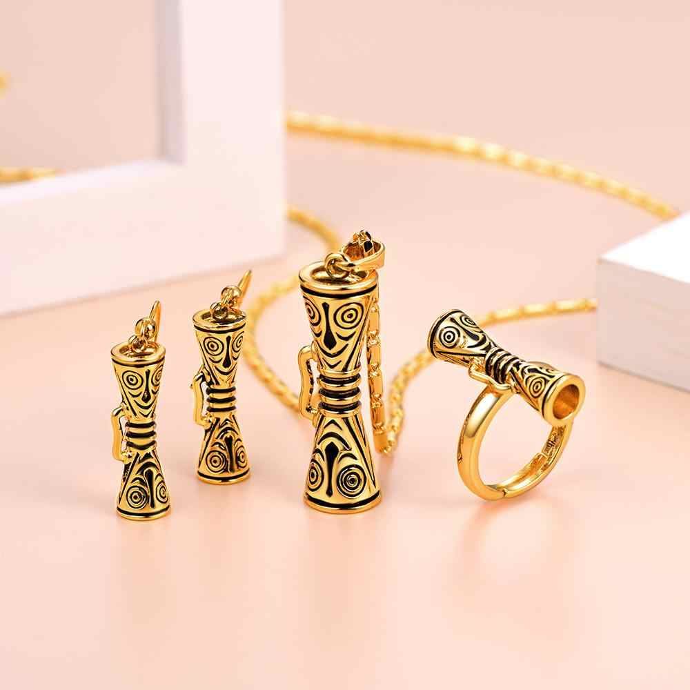U7 Trommel mit Lächeln Gesicht Papua-neuguinea Halsketten Ohrringe Ring sets für Frauen PNG Schmuck Gold Farbe Partei Geschenke s1026