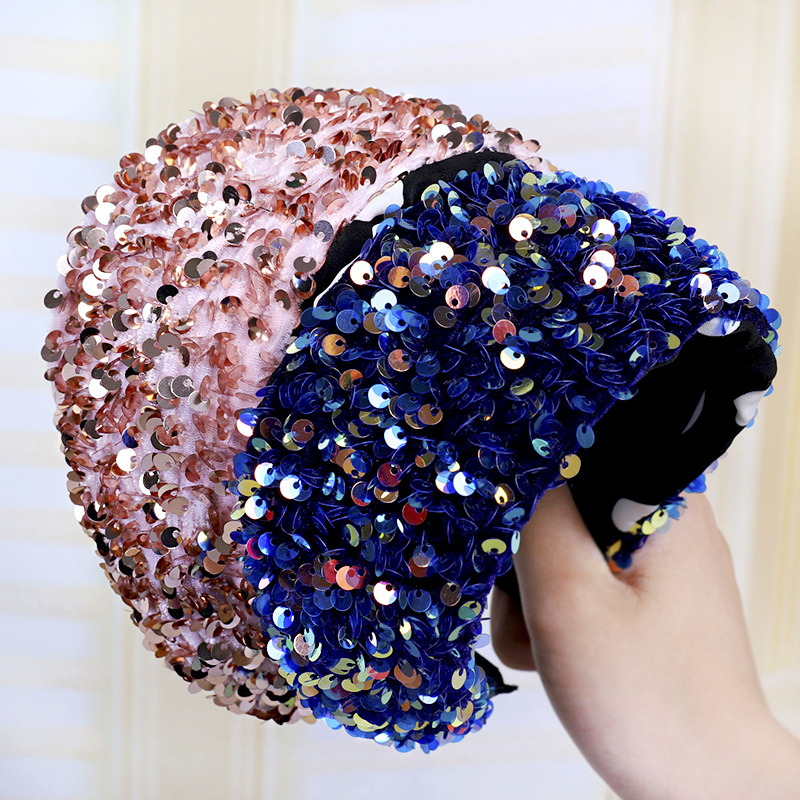 Hair Accessories Women Sweet Simple Wide - Brimmed Sequin Headband Fashion Wash Face Hair Band Diademas Para El Pelo Mujer