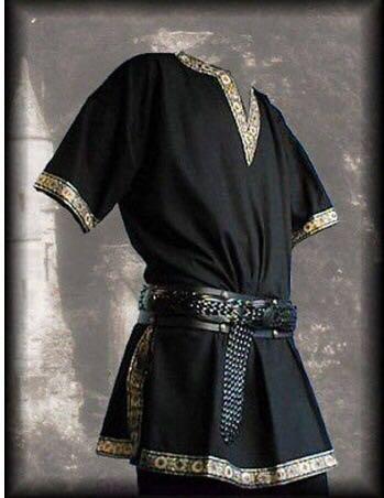 Medieval Knight Warrior Costume Adult Men Green Tunic Clothing Norman Chevalier Braid Viking Pirate Saxon LARP Top Shirt For Men