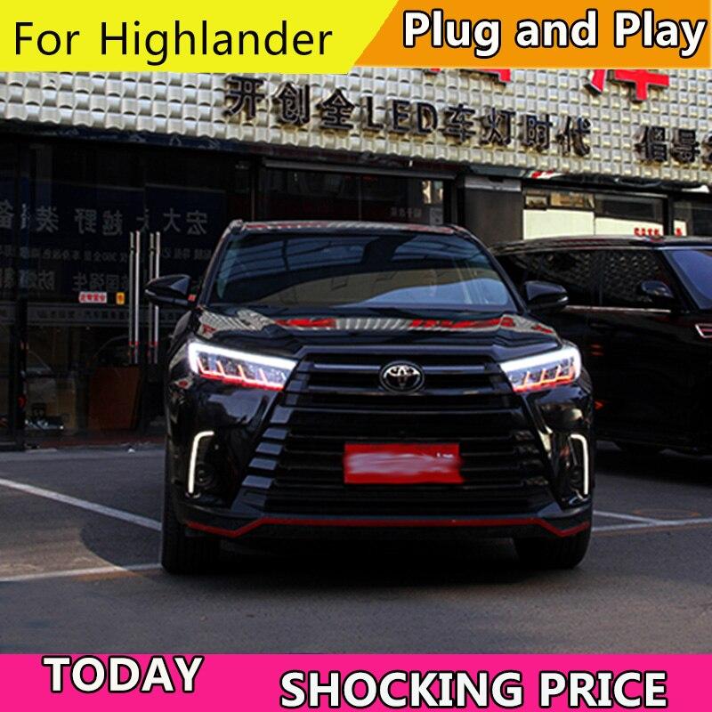 Car Accessories For Toyota Highlander Headlights 2018 2019 New Luger / Highlander All LED Headlights Drl Signal