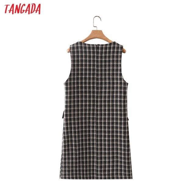 Tangada 2021 Autumn Winter Fashion Women Plaid Woolen Dress Sleeveless Office Ladies Mini Dress 2M203 6