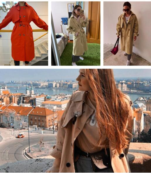 Russian Design Red green khaki grey long Trench coats , oversized Elegant ladies windbreaker raincoats manteau femme