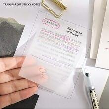 Minkys à prova dminágua pet transparente 50 folhas memorando papel nota pegajosa diário para fazê-lo lista de verificação papelaria escola