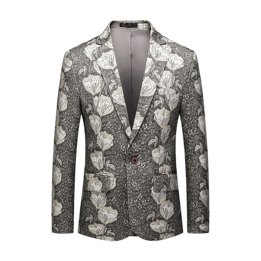 Men's Blazer Suit Jackets Winter And Autunm Men's Casual Business Wedding Long Sleeve Print Floral Suit Coat Casual Jackets