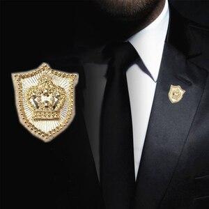 Мини Корона мужские Броши золотого цвета щит корсажи хиджаб булавка женские шапки шарф костюм брошь одежда пряжки брошь