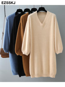 Sweater Dress Short Lantern-Sleeve V-Neck Loose Chic Female Thick Autumn Winter Women