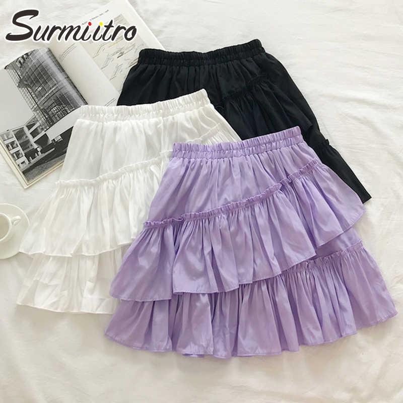 Surmiitro Mini Sommer Rock Frauen 2020 Koreanische Elegante Lila Weiß Schwarz Schwarz Rüschen Hohe Taille Sonne Schule Plissee Rock Weibliche