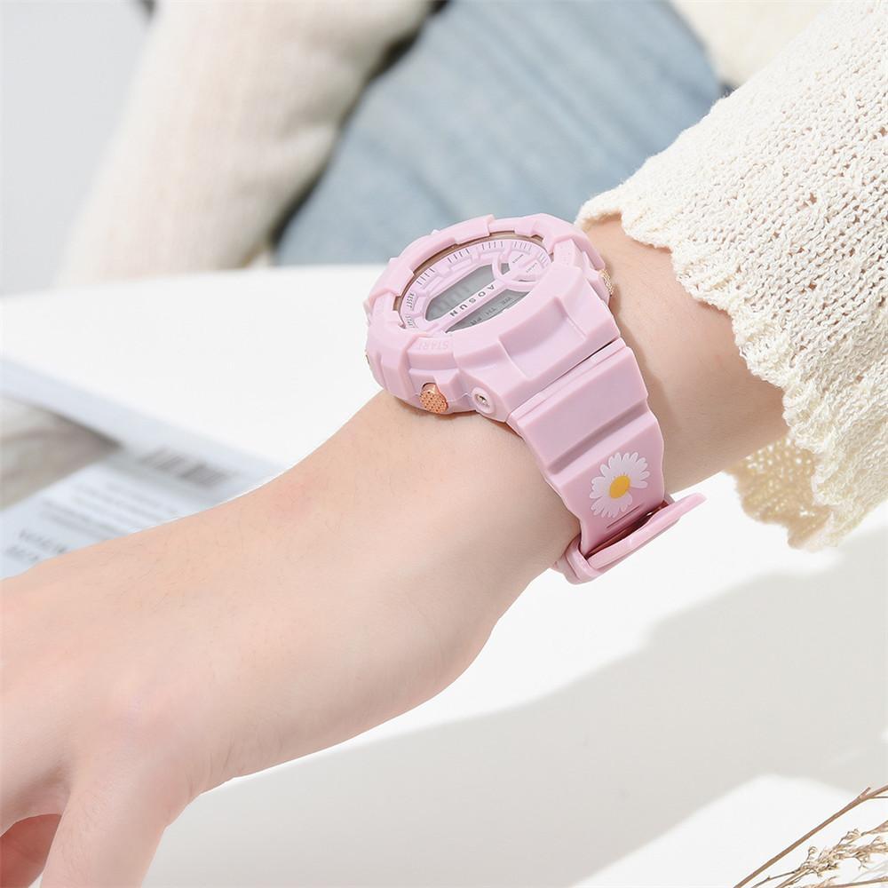 Маленький Ромашки Розовый Дети Часы Мальчики Девочки LED Цифровой Спорт Водонепроницаемый Часы Силикон Резина Часы Дети Повседневный Часы Подарок