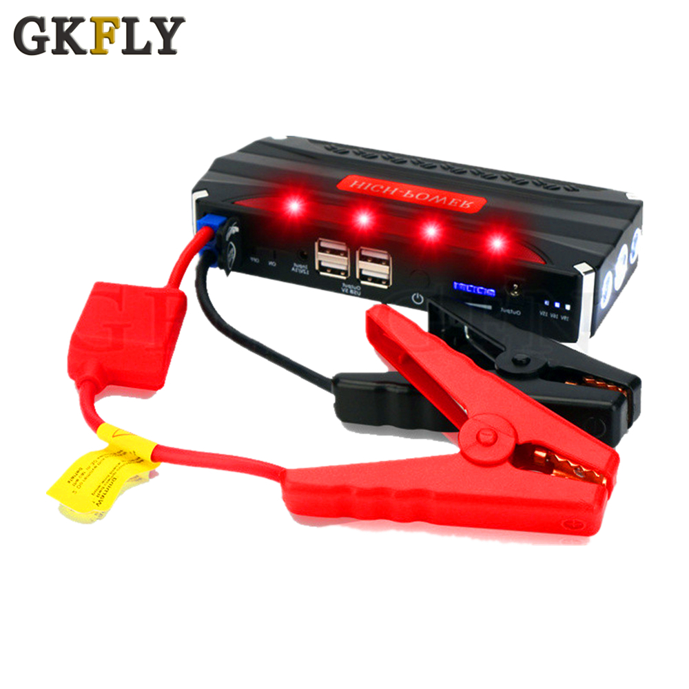 GKFLY MultiFunction Emergency Car Jump Starter 12V Portable Power Bank Car Charger Battery Booster Cars Starting Device Cables