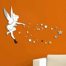 Acrylic Star Angel Art Mirror Wall Sticker Kids Bedroom Window Decal Home Decoration  for Kids Room star mirror wall sticker set