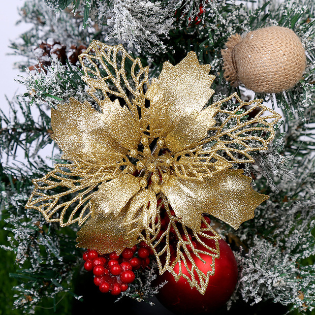 5PCS Artificial Christmas Flowers Glitter Fake Flower Merry Christmas Tree Decorations For Home 2020 Gift Xmas Ornament 1
