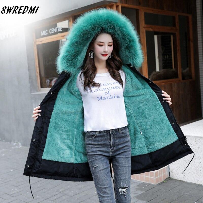 SWREDMI Толстая теплая зимняя куртка Женское зимнее пальто с меховой подкладкой плюс 5XL 6XL с капюшоном женское длинное зимнее пальто парки Зимн...