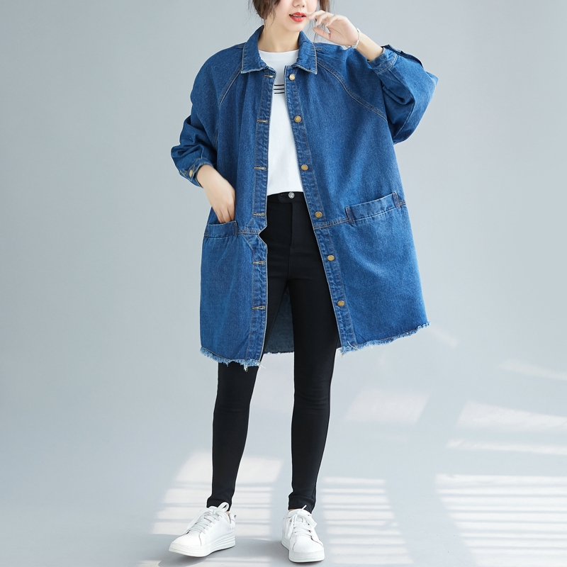 SuperAen Denim   Trench   Coat for Women Autumn New 2019 New Casual Wild Ladies Windbreaker Solid Color Women Clothing