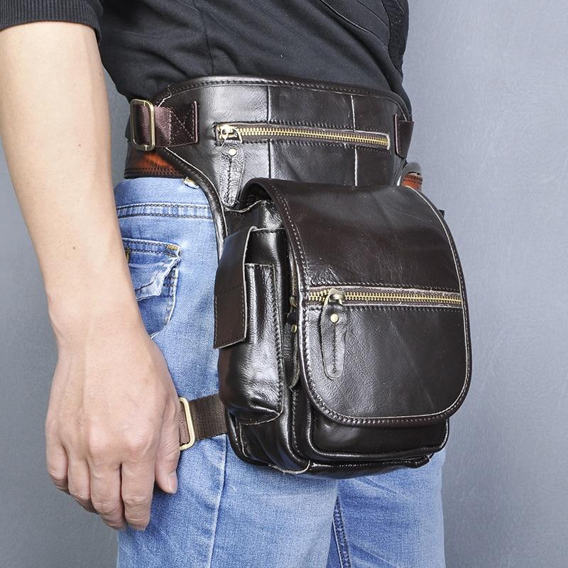 Original Leather Men Design Casual Messenger Shoulder Sling Bag Fashion Multifunction Fanny Waist Belt Pack Drop Leg Bag 3110-c