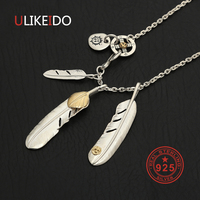 925 Sterling Silver Necklace For Men Golden Leaf Feather Charms Eagle Pendant Chain New Fine Jewelry P27