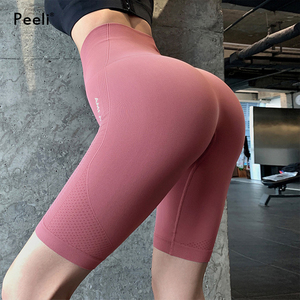 Peeli 2020 Women High Waist Energy Seamless Yoga Shorts Push Up Hip Gym Shorts Fitness Letter Print Sports Leggings Workout