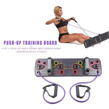 Push Up Rack Push-up Board with Resistance Bands Gym Home sports Comprehensive Fitness Exercise Sports Body Building Training