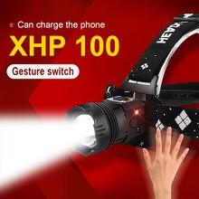 500000lm xhp100 ir sensor led farol 18650 recarregável de alta potência lâmpada cabeça usb xhp 50 cabeça pesca tocha luz