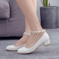 White middle block heel women pumps shoes ankle strap crystal fringe tassels ornament princess ladies bridal party pumps shoes