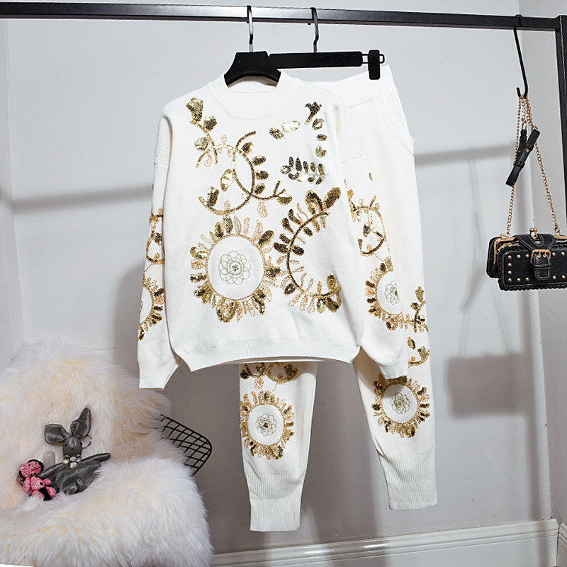 Knitted Tracksuit Women Set Handwork Gold Leaf Sequins Embroidery Sweater Pants 2pcs Loose White Black Knitting Outfits Female