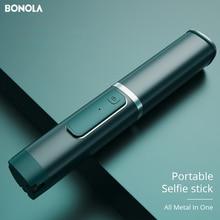 Bonola All Metal Portable Selfie Stick Holder For Xiaomi/Huawei/iPhone/Samsung Hidden Tripod Selfie Stick Bluetooth Control