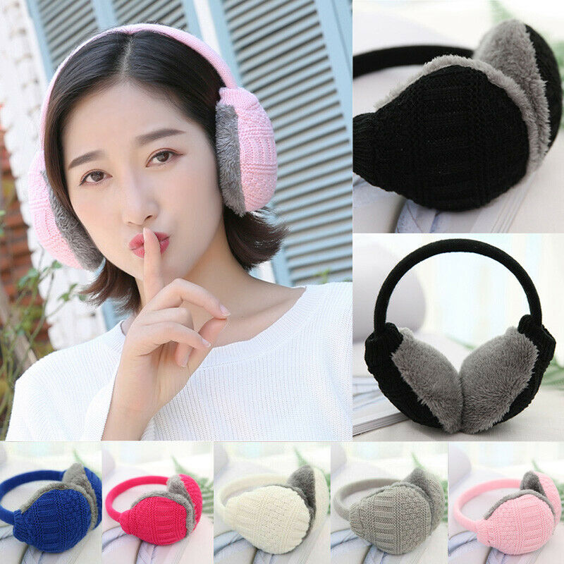 Unisex Women Men Winter Warm Ear Cover Knitted Furry Earmuffs Removable Washable Ear Protectors Ear Protectors Accessories