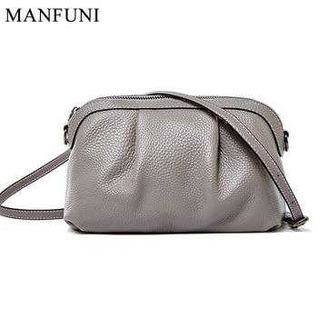 Daily Casual Women Crossbody Bag 100% Genuine Leather Fashion Simple Grey Handbag Satchel Lady Shoulder Bags High Quality Black