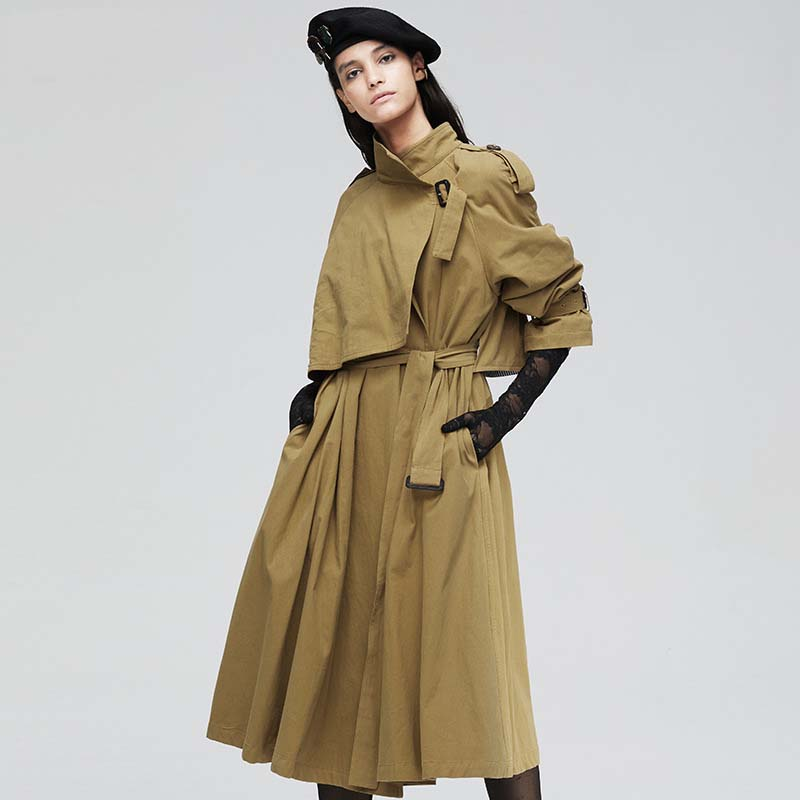 Women Khaki Solid Long   Trench   Coat Female Doube Breasted   Trench   Sashes England Style Turn-down Collar Outerwear