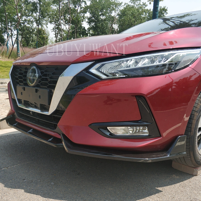 Carbon Fiber Look/ Black 3Piece Car Front Bumper Lip Chin Bumper Body Kits Splitter Diffuser For 19 Nissan Sentra SYLPHY 2019|Bumpers| |  - title=