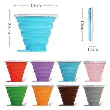 270ML Reise Tasse Edelstahl Silikon Versenkbare Folding cups Teleskop Faltbare Kaffee Tassen Outdoor Sport Wasser Tasse