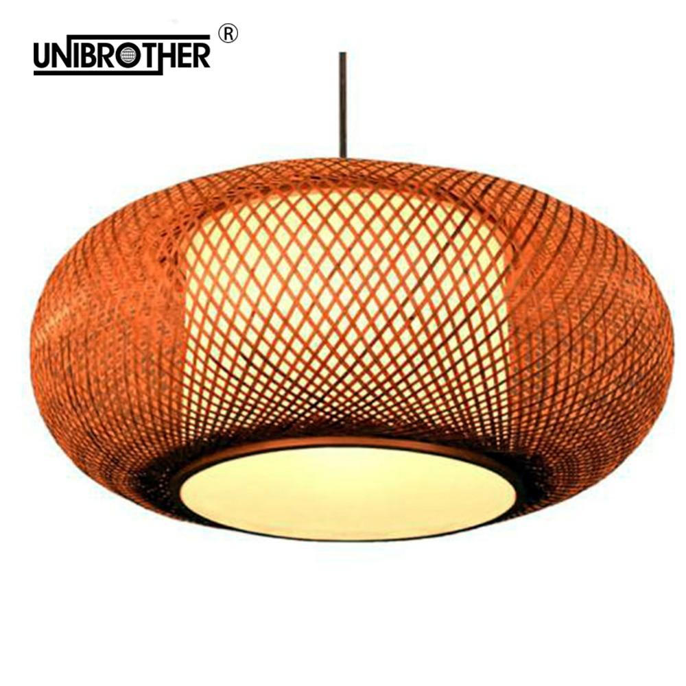 Bamboo Lantern Modern LED Wood Pendant Lamp Kitchen Fixtures Light Suspension Home Indoor Dining Room Hanging Lamp Handmade