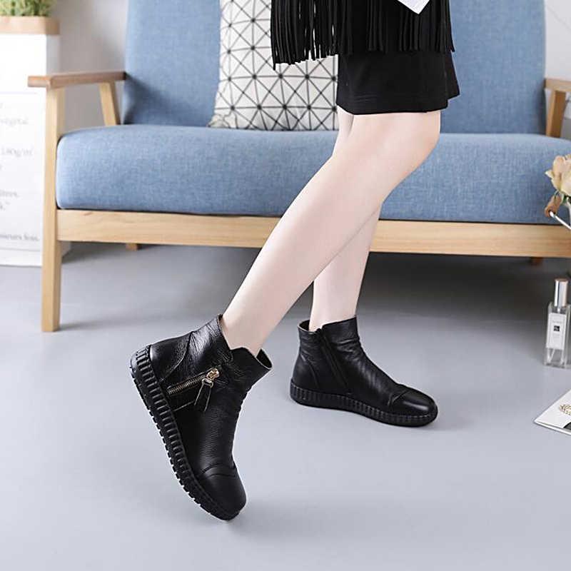 DONGNANFENG Mulheres Ladies Feminino Pele De Vaca Mãe Genuína Sapatos de Couro Botas de Zíper No Tornozelo Pelúcia Outono Inverno Quente Casual FJ-1691