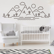 Simple Pattern Mountains tree cloud Wall Vinyl Decals Trees Clouds Sticker Kids Baby Room Decor Nature Mountain Mural