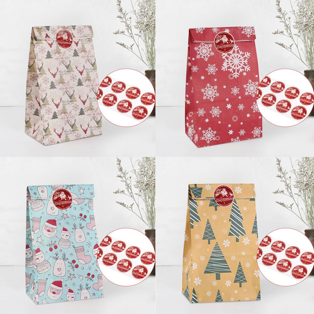 QFU Packing Christmas Gift Bag Candy Box Kraft Bag Paper Popcorn Box Goodie Bags Printed Paper Treat Bags Paper Birthday Party