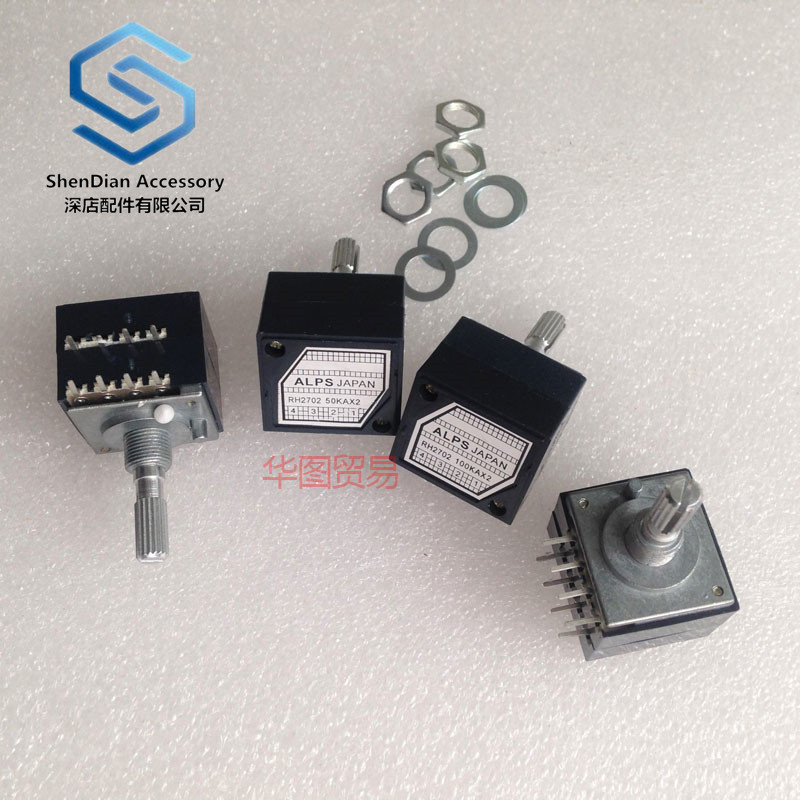 1pcs 100% New For  Alps Resistance Step Type Double Volume Potentiometer Rh2702-50ka 100kA 250kA Exponential Type