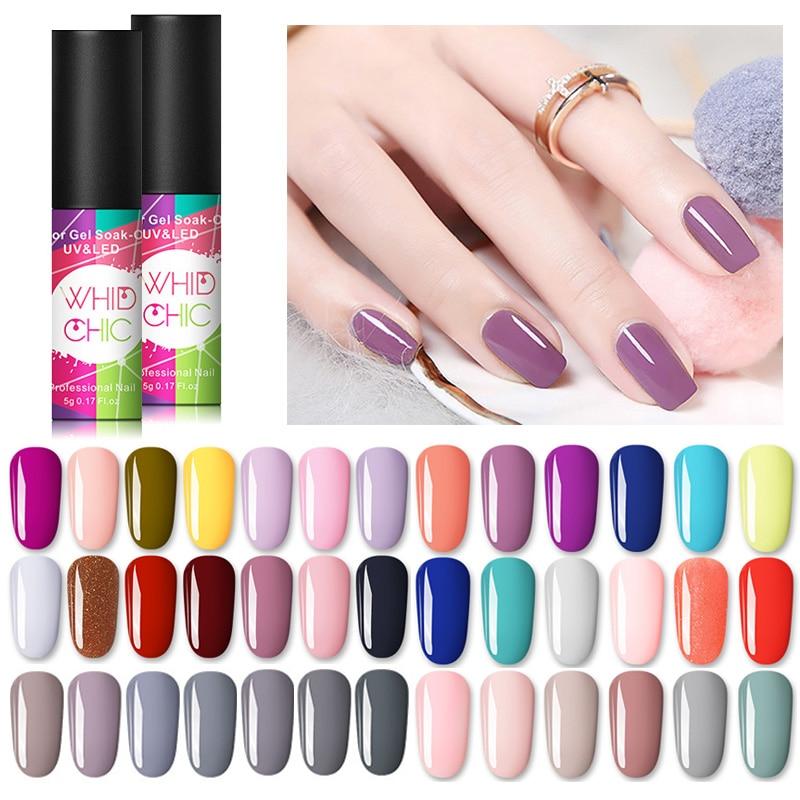 WHID CHIC Winter UV Gel Nail Polish 53 Pure Nail Colors Soak Off Gel Polish Lacquer Semi Permanent Nail Art Gel Varnish