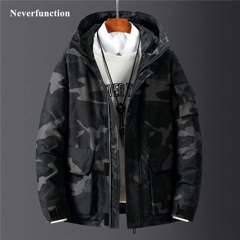 Men Winter New Camouflage multicolor Thick warm windproof Hooded White duck   down   jacket men casual   down   Cargo   coat   Outwear
