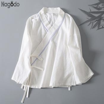 Nagodo biała chińska koszula 2020 wiosna lato bawełna płaszcz Cardigan przycisk z długim rękawem na zewnątrz panie chiński bluzka Top kobiety tanie i dobre opinie COTTON Topy WOMEN Czesankowej White Chinese Shirt
