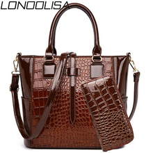 2 ensemble en cuir verni dames sacs à main sac à main de luxe sacs à main femmes sacs concepteur Alligator fourre tout sacs à bandoulière Bolsas de Mujer