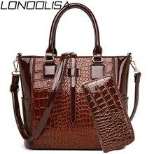 2 takım Patent deri bayan el çantaları çanta lüks çanta kadın çanta tasarımcısı timsah Tote Crossbody çanta Bolsas de Mujer