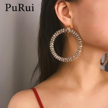 PuRui Gold Rhinestone Circle Earrings Big Round Drop Earrings Geometric Ring Earrings for Women Luxury Crystal Wedding Jewelry