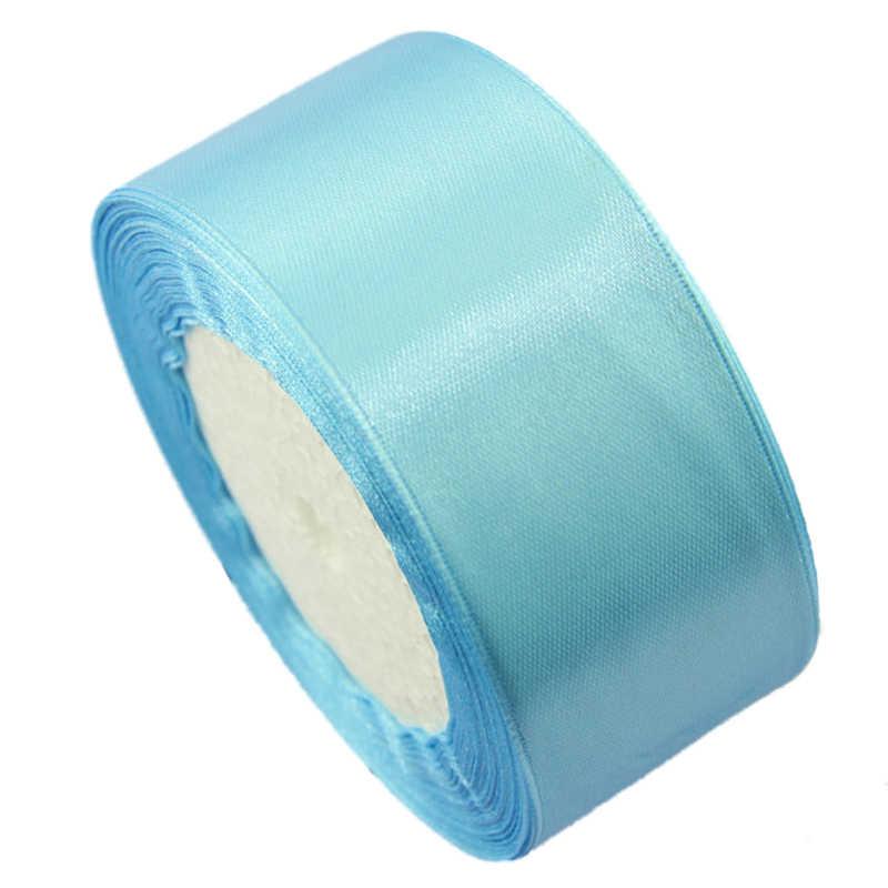 2 רול 40mm 22 מטרים משי סאטן סרט מסיבת חתונה, 1 רול ורוד & 1 רול אור כחול