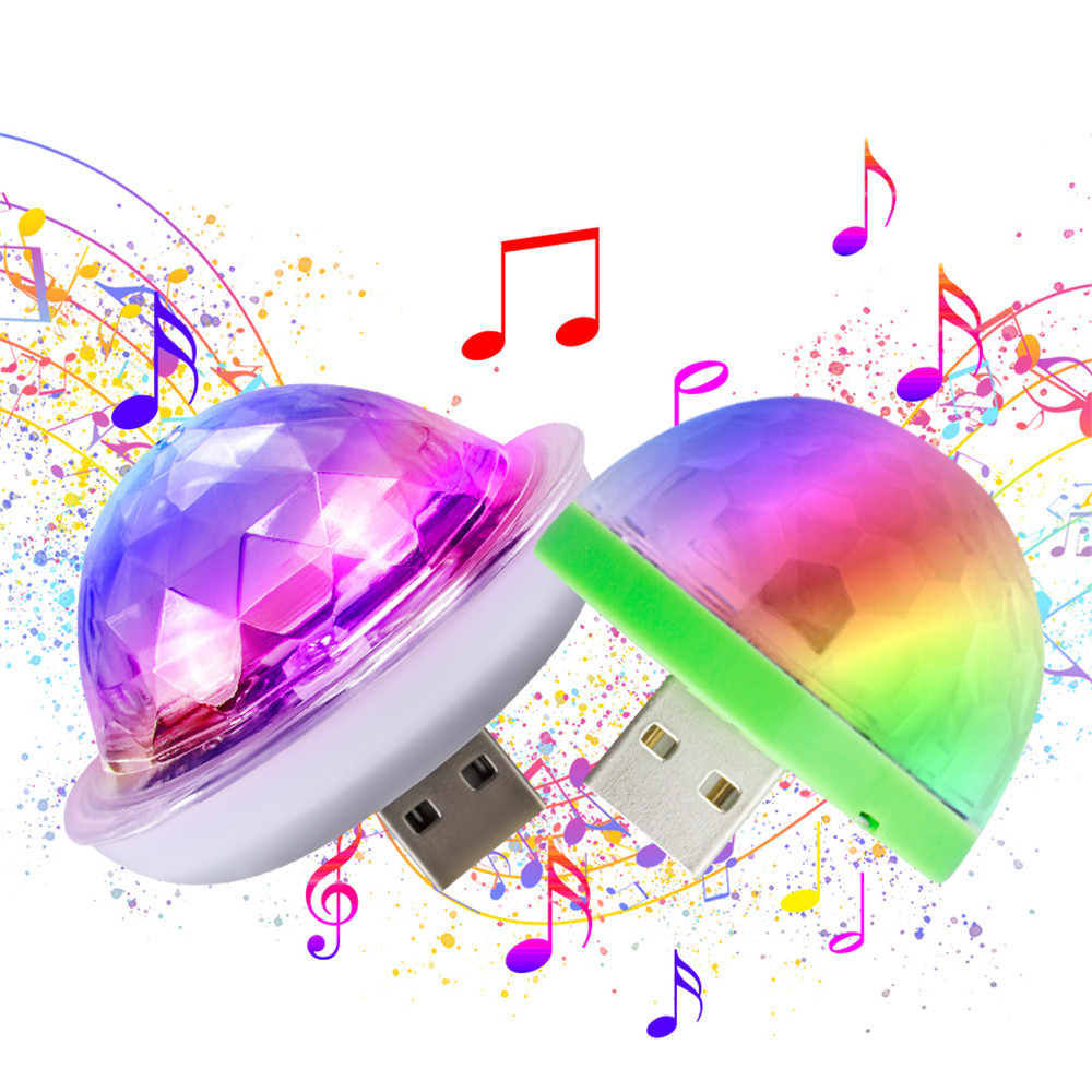 Mini USB Sound Party Lights Disco Light 4W  RGB Magic Crystal Ball Stage Light Effect For Christmas KTV Wedding Music Dj Light