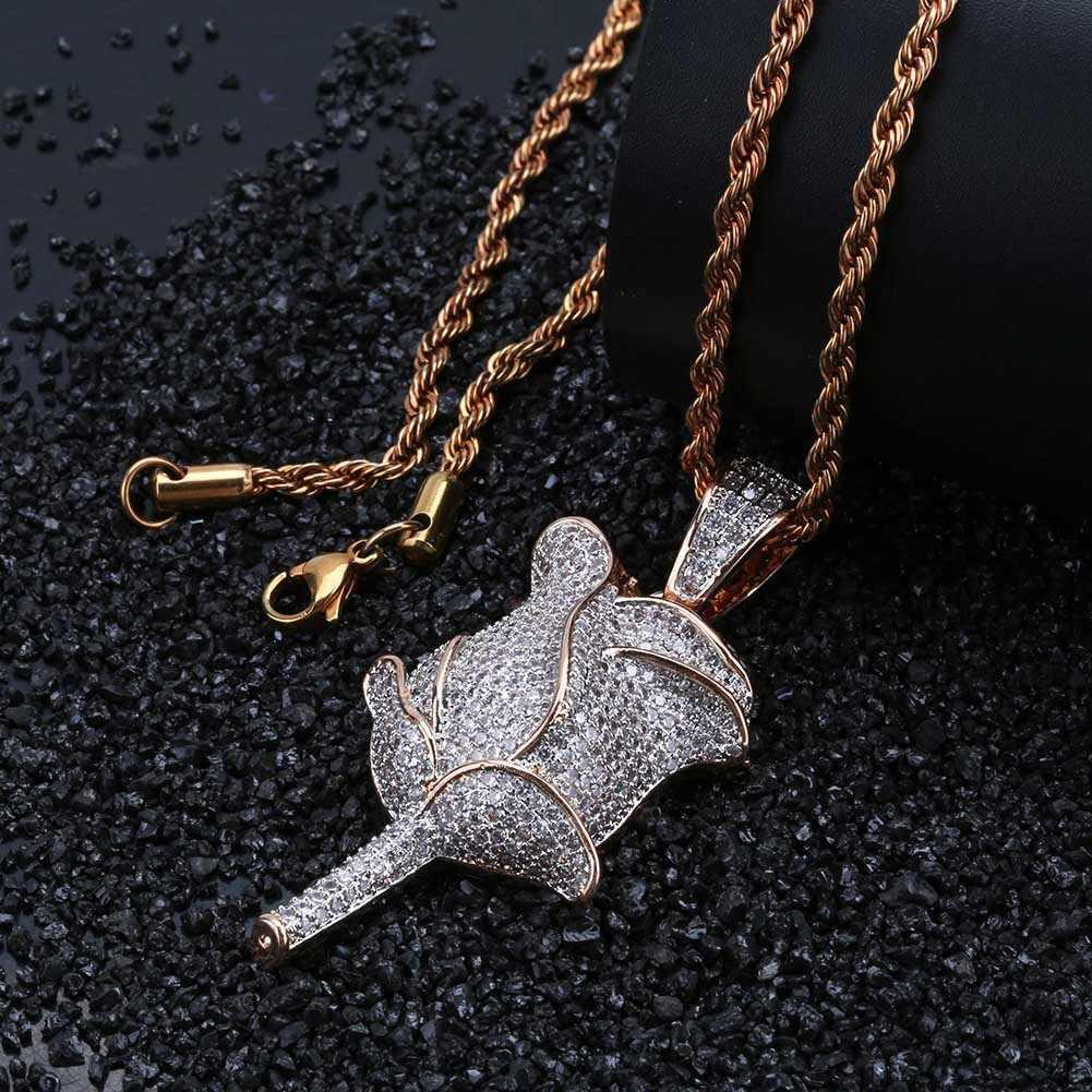 ヒップホップは CZ ジルコニア石の花のペンダントネックレスシルバーゴールドカラー声明ネックレスのギフトの宝石男性のため Woem