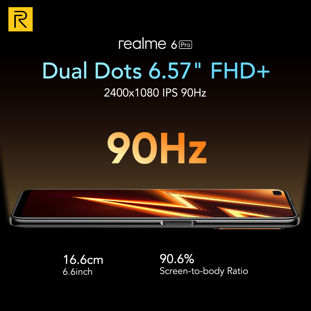 Realme 6 Pro Mobile Phone 6.6inch 90Hz Display 64MP Cam 8GB 128GB Snapdragon 720G Smartphone Cellphone