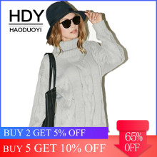 HDY Haoduoyi 2019 Fashion Solid Gray Sweaters Women Warp Knitted Fabric Casual Pullovers Female High Collar Long Sleeve Tops(China)